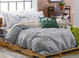 Vivilinen Unique Stripe Print 100% Cotton 4-Piece Duvet Cover Sets