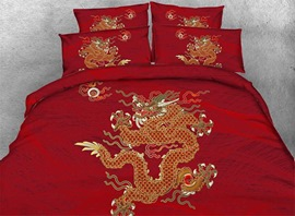 Vivilinen 3D Oriental Golden Dragon Printed 4-Piece Red Bedding Sets/Duvet Covers