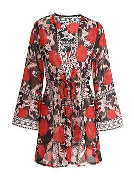 Ericdress V-Neck Mid-Length Floral Sun Protective Clothing