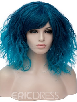Ericdress Ombre Blue Loose Wave Medium Synthetic Hair With Bangs Capless Wigs 14 Inches