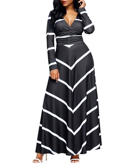 Ericdress V-Neck Stripe Pleated Maxi Dress