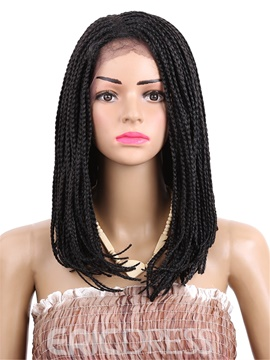 Long Bob Lace Front Wig Synthetic African American Braided Wigs 16 Inches