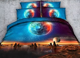 Vivilinen 3D Galaxy and the Earth Printed Cotton 4-Piece Bedding Sets/Duvet Covers