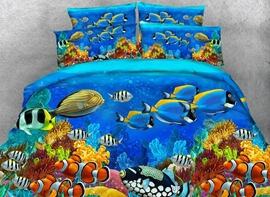 Vivilinen 3D Colorful Sea Fish Printed 4-Piece Bedding Sets/Duvet Covers