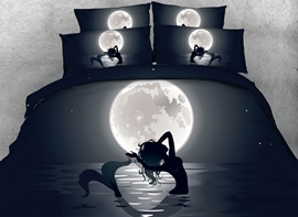 Vivilinen 3D Mermaid in the Moonlight Printed Cotton 4-Piece Black Bedding Sets