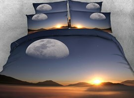 Vivilinen 3D Sunset Scenery Printed Cotton 4-Piece Bedding Sets/Duvet Covers