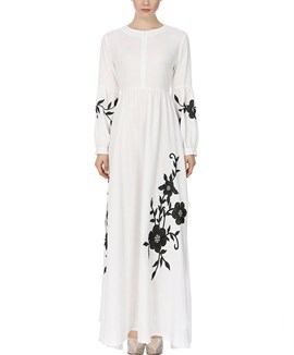 Ericdress Floral Embrodiery Lantern Sleeve Pleated Women's Maxi Dress