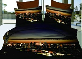 Vivilinen Hot Sell Amazing Modern City Night 4 Pieces Bedding Sets