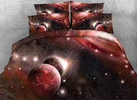 Vivilinen 3D Red Galaxy Printed 4-Piece Bedding Sets/Duvet Covers