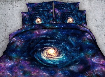 Vivilinen 3D Whirlpool Galaxy Printed Cotton 4-Piece Bedding Sets/Duvet Covers
