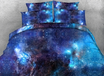 Vivilinen 3D Blue Galaxy Realistic Style Printed 4-Piece Bedding Sets/Duvet Covers