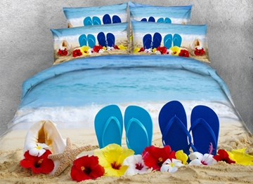 Vivilinen 3D Slippers on the Beach Printed Cotton 4-Piece Bedding Sets/Duvet Covers
