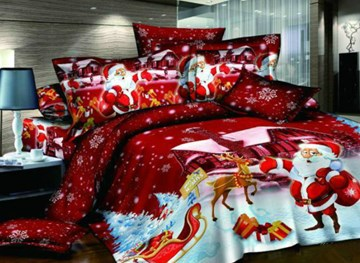 Vivilinen Christmas Gift Cotton Happy Red Christmas 4 Piece Duvet Cover Sets