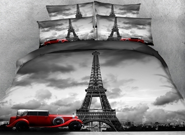 Vivilinen 3D Paris Eiffel Tower and Vintage Car Printed Cotton 4-Piece Bedding Sets