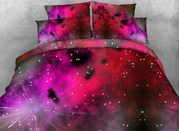 Vivilinen 3D Rosy Galaxy Printed Cotton 4-Piece Bedding Sets/Duvet Covers