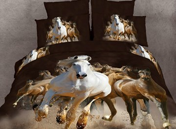 Vivilinen Cotton Reactive Printing 3D Horses 4 Piece Bedding Sets