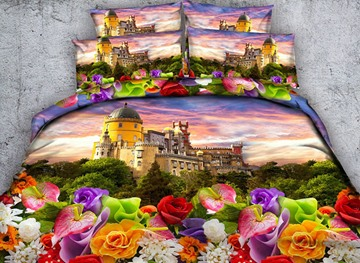 Vivilinen 3D Castle and Colorful Flowers Printed 4-Piece Bedding Sets/Duvet Covers