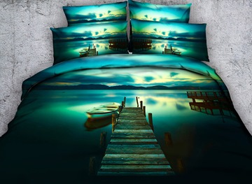 Vivilinen 3D Jetty and Canoe Printed 4-Piece Bedding Sets/Duvet Covers
