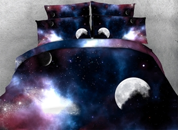 Vivilinen 3D Moon and Galaxy Printed 4-Piece Bedding Sets/Duvet Covers