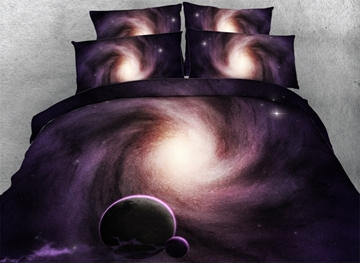 Vivilinen 3D Celestial Body and Galaxy Printed Cotton 4-Piece Bedding Sets/Duvet Covers