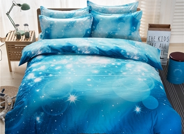 Vivilinen Dreamy Galaxy Print Blue 4-Piece Duvet Cover Sets