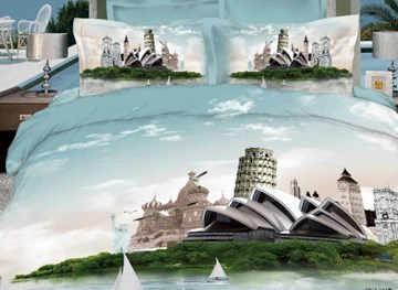 Vivilinen Retro Sydney Opera House & Leaning Tower Print 3D 4 piece Dvet cover/Bedding Sets