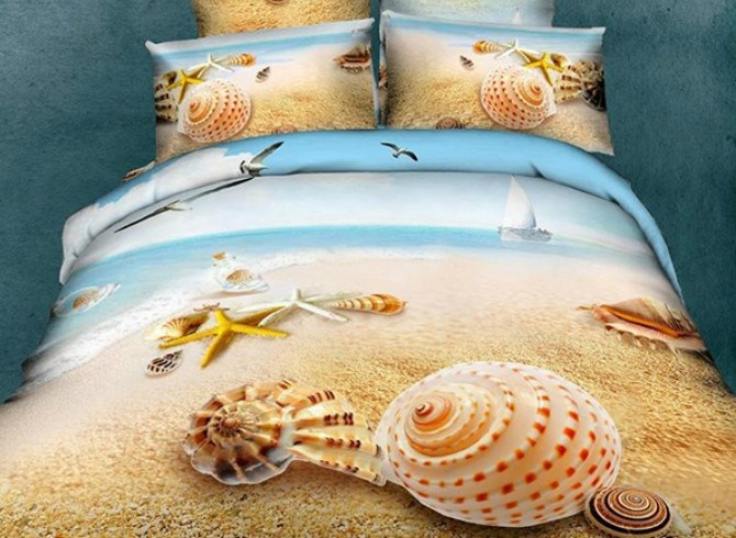 Vivilinen Starfish and Shell 3D Printed Mediterranean Style Cotton 4-Piece Bedding Sets