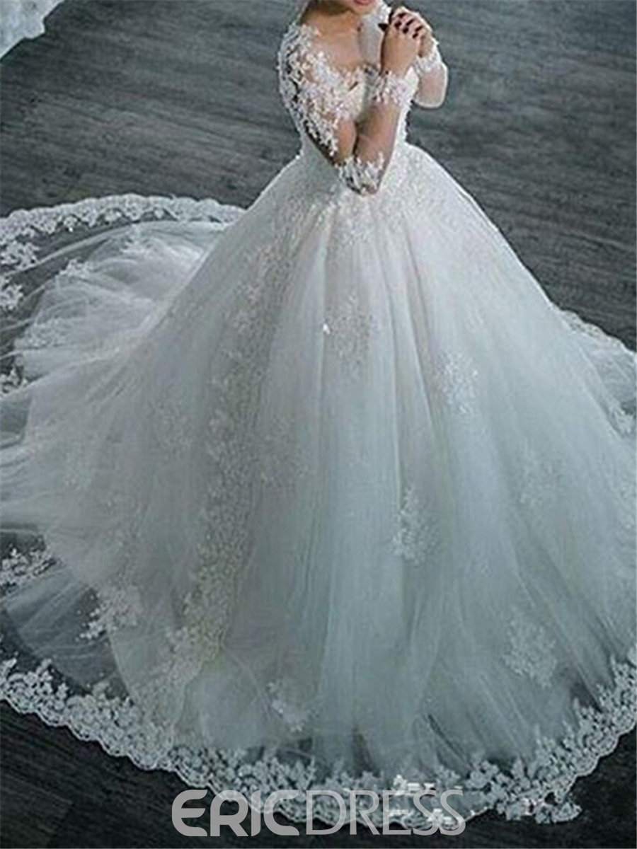 Ericdress Ball Gown Appliques Beaded Long Sleeves Wedding Dress