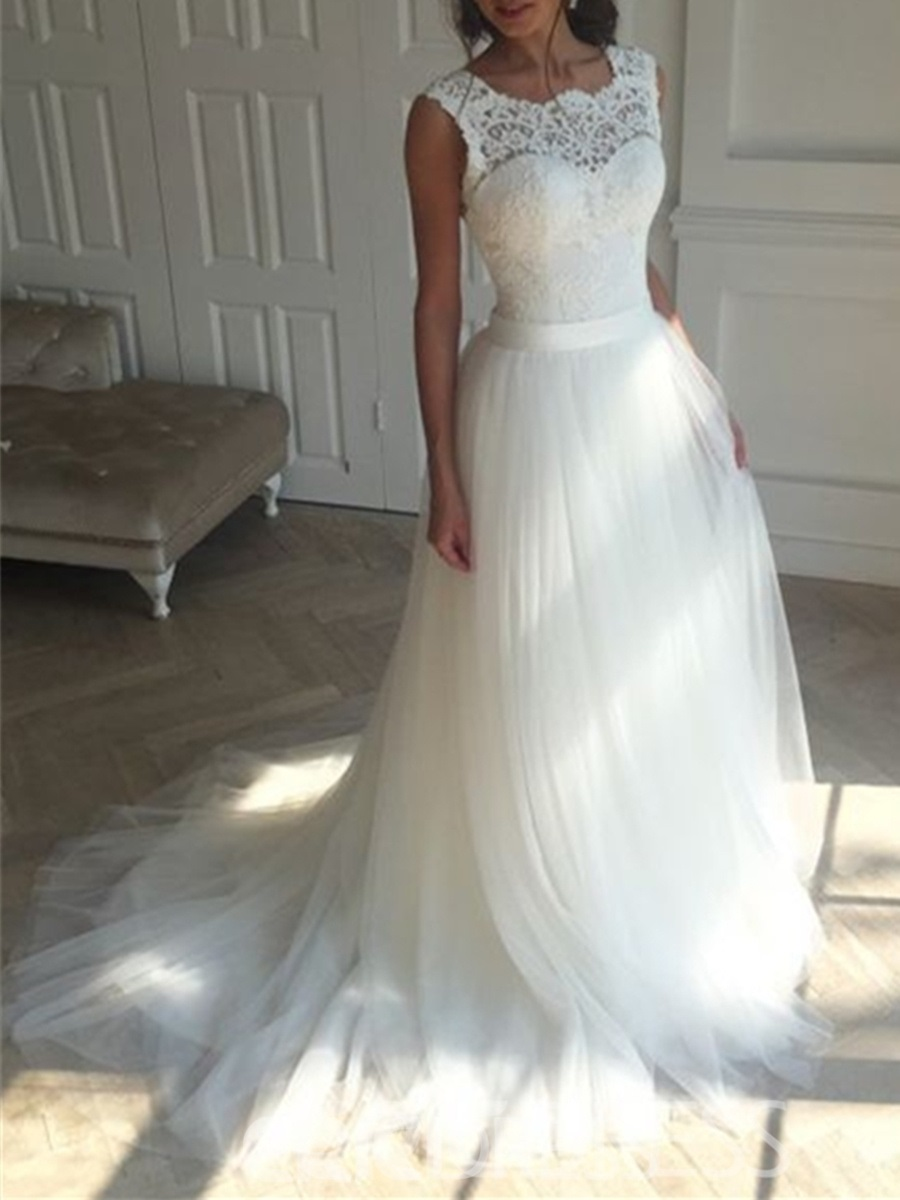 Ericdress Lace A Line Backless Tulle Wedding Dress 12799057 ...