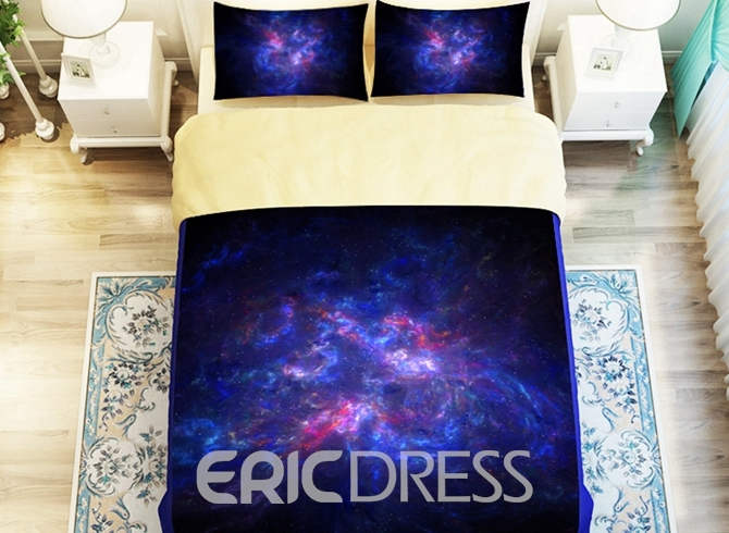 Vivilinen Dreamlike Purple Galaxy Printed 4-Piece Polyester Duvet Cover Sets