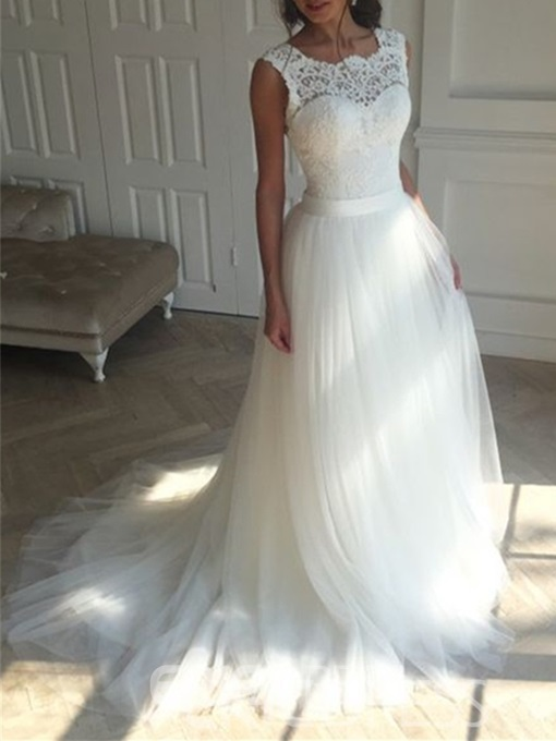 Ericdress Lace A Line Backless Tulle Wedding Dress