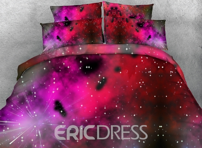 3d Earth And Meteor Shower Printed Cotton 3-piece Bedding Sets/duvet Covers Bedding Bedding Sets