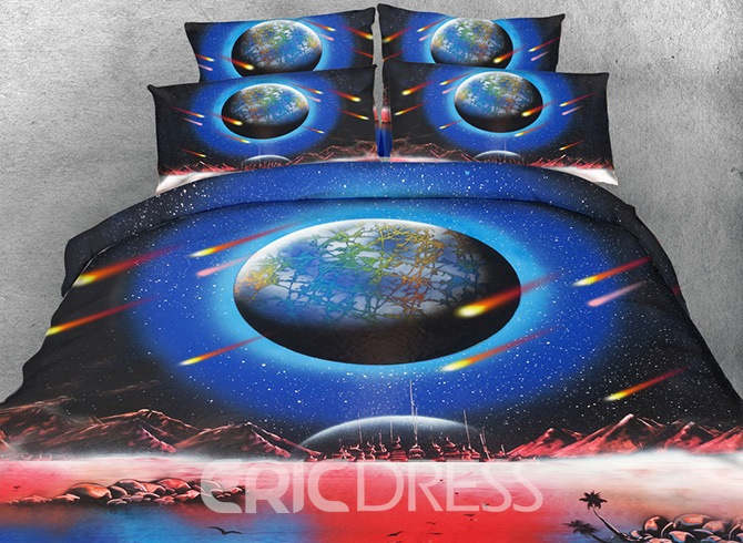 Vivilinen 3D Earth and Meteor Shower Printed Cotton 4-Piece Bedding Sets/Duvet Covers