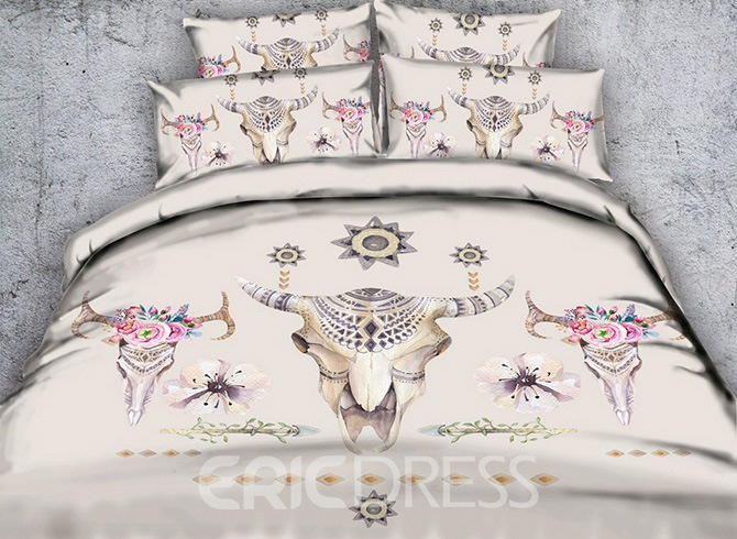 Vivilinen 3D Cow Skulls Printed Exotic Style Printed 4-Piece Bedding Sets/Duvet Covers