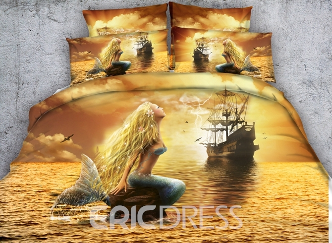 Vivilinen 3D Mermaid and Ship Printed Cotton 4-Piece Bedding Sets/Duvet Covers