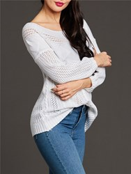 Ericdress Plain Chunky Knit Off-Shoulder Sweater