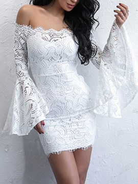 Ericdress Slash Neck Flare Sleeve Lace Women's Bodycon Dress