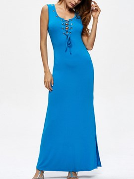 Ericdress Solid Color Lace-Up Sleeveless Women's Maxi Dress