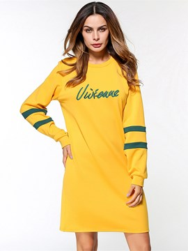 Ericdress Yellow Letter Print Women's Casual Dress