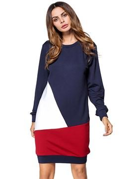 Ericdress Color Block Patchwork Pullover Women's Casual Dress