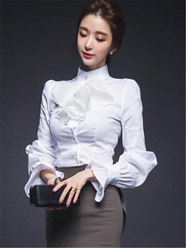 Ericdress Slim Plain Ruffles Shirt