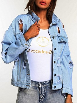Ericdress Loose Lapel Hole Denim Jacket
