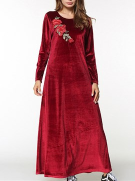 Ericdress Appliques Long Sleeve Velvet Women's Maxi Dress