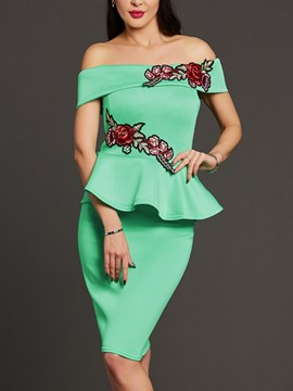 Ericdress Slash Neck Ruffle Embroidery Bodycon Dress