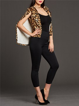 Ericdress Leopard Patchwork Sleeveless Blazer