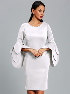 Ericdress Long Petal Sleeve Plain Bodycon Dress