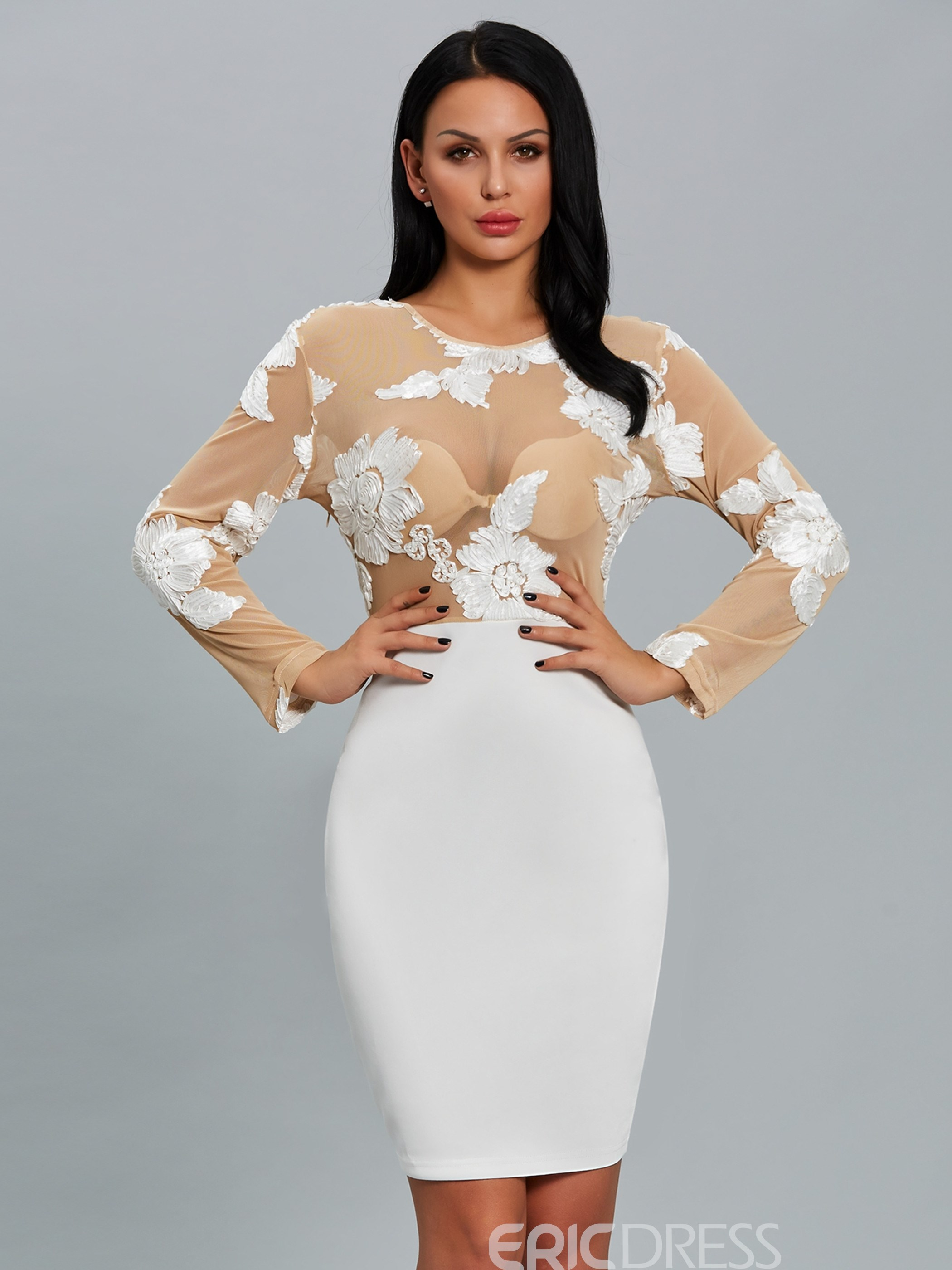 Ericdress Embroidery Floral Hollow Bodycon Dress