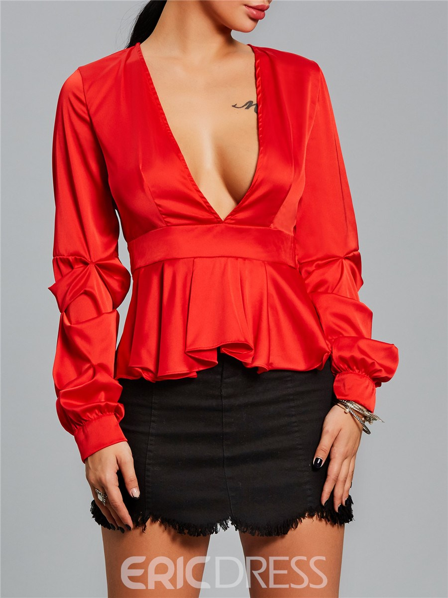 Ericdress Plain V-Neck Slim Ruffle Blouse
