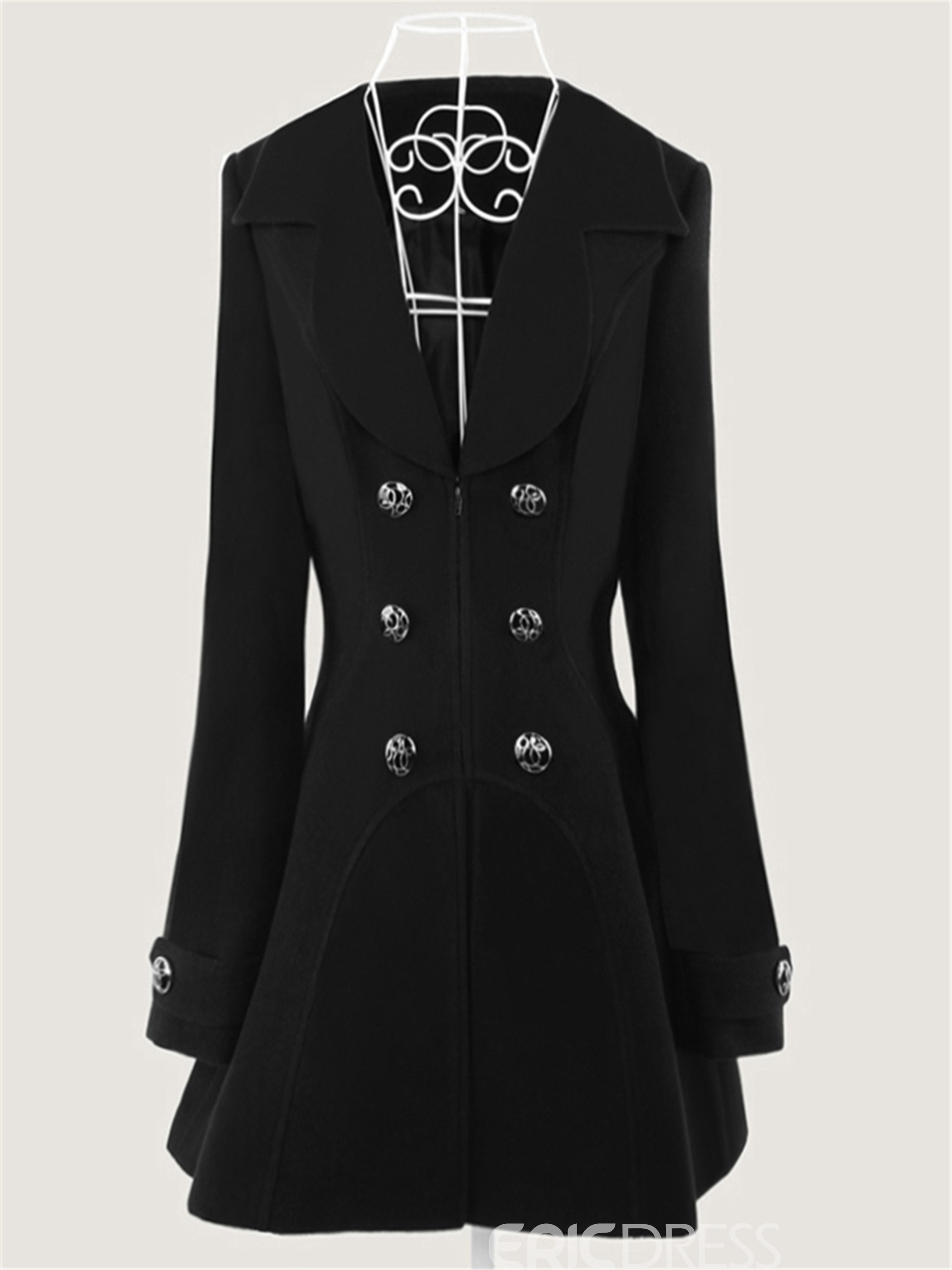 Ericdress Shawl Collar Double-Breasted Temperament Coat