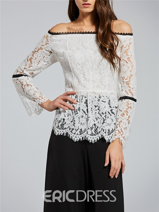 Ericdress Slash Neck Hollow Lace Blouse